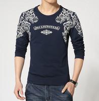 New 2015 Spring Men T-shirt Fashion Splice Slim Fit Casual Long Sleeve T-shirt Men Size M-3XL 5 Colors