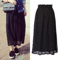 2015 Summer Spring Fashion Women Skirts Knee-Length Straight Lace Print High Waist Casual Black White Skirts Female JM150122