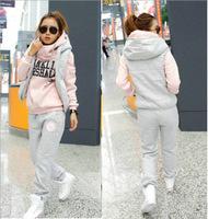 2015 Spring Pullover 3d Sport Suit Women Tracksuits Sport Suits Sweatshirt Hood Female Plus Size Hoodies 3pcs Clothing Set
