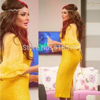 New Arrival 2015 Arabic Evening Gown Beading Three Quarter Sleeve Mid-calf Sheath Yellow Prom Dresses Robe De Soiree