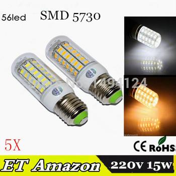 5 шт. CE и ROHS ультра яркий кри SMD 5730 E27 E14 из светодиодов лампы 7 Вт 11 Вт 12 Вт 15 Вт 220в 5730SMD из светодиодов кукуруза лампочка люстра