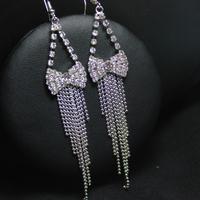New Fashion 925  Solid Sterling Silver Ear Hook Crystal Bow  Long tassel Dangle Earrings 96