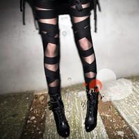 Fashion 2015 Women Clothing Black Punk Style Sexy Bandage Pants / Leggings