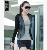 2015 New Fashion Autumn Winter Women Faux Patchwork Leather Jackets Pu Black Blazer Zippers Long Sleeve Motorcycle Coat C2633