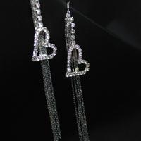 Women's Fashion Solid Sterling Silver Ear Hook Crystal Heart Long tassel Dangle Earrings E92