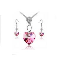 Fashion Austria crystal bridal jewelry Women Wedding style Heart Earrings necklace jewelry sets
