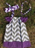 grey chevron purple polka dot pillow dress girl dress peasant dress with headband and necklace