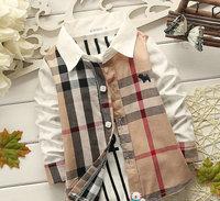 4pcs/lot wholesale long sleeve kids grid patchwrok shirt boy clothes ,casual shsirt child clothes