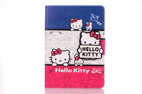 50pcs/lot DHL/EMS Shipping Cute Cartoon Hello Kitty book leather flip stand smart cover case for ipad mini 123 with card holder