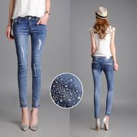 New 2015 Plus Size Hole Capris Women , Korean Rhinestone Thin Popular Pencil Jeans 26-40 Size Free Shipping