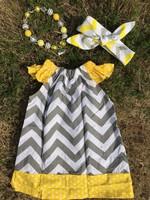 grey chevron yellow polka dot pillow dress girl dress peasant dress with headband and necklace