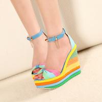 2015 Size 34-39 Women Bow Straw Braid Strap Platform Rainbow Heels Sandals Student Buckle Wedges Sandals 2229