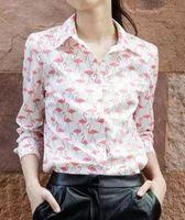 Women flamingo print Shirt Casual Fashion Shirt Ladies Pink red Shirt New blouse 2015 Hot Sale cotton Female Spring Summer
