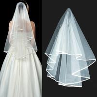 2015 New Simple One-Layer Ribbon Edge Trailing Bridal Veil Wedding Accessories Organza Elegant White Headdress Long Veil
