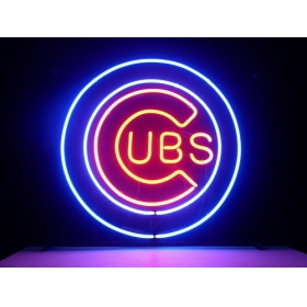 "HANDICRAFT MLB CHICAGO CUBS LOGO NEON SIGN REAL GLASS TUBE LIGHT BEER BAR PUB STORE 17x14""(China (Mainland))"