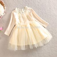 HOT ! 2015 Girls spring pearl collar tutu dress , girls dresses children , 3-7YEARS , 5pcs/lot   WMX25