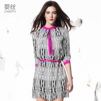 silk dress freeshipping  2015 spring medium-long straight skirt black and white silk double three quarter sleeve one-piece dress