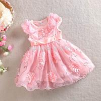 2015 Girls summer flower sequins dress , little girls dresses , 3-7YEARS , 5pcs/lot   WMX28