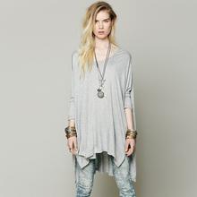 New Fashion Women Batwing Bat Sleeve Loose Oversize Long T-shirt Over Size Tee Knit Top Casual Shirt Plus Size XXL Y0302-39E(China (Mainland))