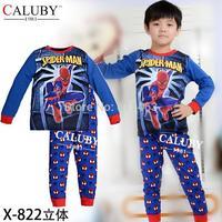 2015 boys long sleeve spiderman clothes set / baby sleepwear / kids clothing setx-X-822