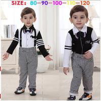 Gentlemen design children's clothing sets Fashioned Boy's sets spring /autumn tie suspenders trousers +long sleeve dress shirts