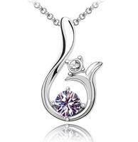 2015 New Arrival Zinc Alloy Women Pendant Necklaces Trendy Silver Link Chain Austria Crystal Necklace