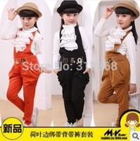 Retail 1 set ,White ruffles T-SHIRT B&Q British Style Solid Overalls Set Harem Pants Straight type free shipping!