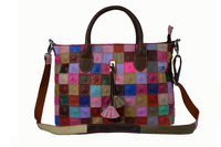 New arrive women messenger bag genuine leather handbag hand knitting multicolour bolsa feminina for women