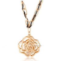 2015 New Arrival Zinc Alloy Women Long Pendant Necklaces Fashion Rope Chain Cubic Zirconia Hollow Out Rose Flower Necklace
