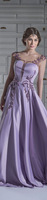 vestido longo A Line Cap Sleeve Transparent Satin Embroidery Beading Lilac Evening Dress 2015