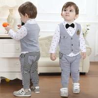 2015 Spring Autumn New arrival Boy Gentleman Suit long sleeve T-shirt + vest + pants 3pcs/set baby boy leisure suit free ship