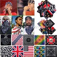 1PC New Unisex 100% Cotton Kerchief Flag Skull Prints Paisley Bandanas Double Sided Head Wrap Scarf Wristband