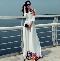 2015 new fashion Autumn Winter Dress Floral Print Patchwork White Dress Floor Length Long Maxi Dress Party women casual dress