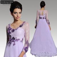 2015 New arrival latest design applique 31242  floor length A-line light purple long sleeve long elegant lace evening dresses