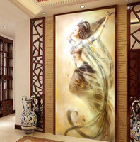 Needlework Entrance Hallway Painting Dunhuang Fairy Flying Cross Stitch Kit Embroidery Set 75x125cm DIY Home Decoration