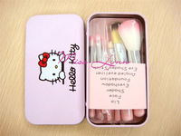New Arrival Cute Hello Kitty Makeup brush 7 in 1 (1 set= 7pcs,7pcs in 1bag) With Metal box /lot 10setFree Shipping