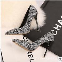 2015 spring autumn plus size 35-40 brand designer women pumps 11 cm high heels OL shoes woman pointed toe wedding shoes C2635