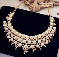 2015 New Fashion Women Chokers False Collar Short Necklaces Classic Multilayers Simulated pearl Collare Necklace