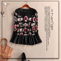 Free shipping! European women's PU patchwork blouse 2015 spring PU patchwork print o-neck long-sleeve slim shirt top c254241