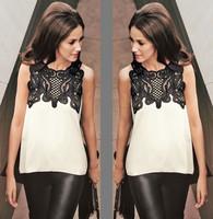 2015 New fashion Women blouse Chiffon Sleeveless o-neck casual Irregular Hem Blouse Tops