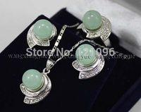 Green Jade Earrings & Ring & Necklace Pendant Set