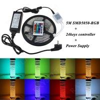 Home holiday decoration lighting kit 12V 36w 72w Power adapter 24keys ir controller No waterproof RGB 5M SMD5050 led light strip