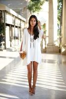 Female summer and autumn Mini V Collar Chiffon loose size sexy dress fashion shirts tops c1263