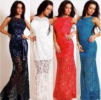 2015 new fashion Blue Navy White Black Women Lace Women Party Maxi Dress Female Fashion mermaid Slim Summer Maxi Dress