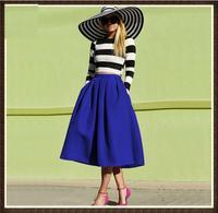 Saias Femininas 2015 Fashion Clothes Womans European Brands Blue Flare Pleated Spring Latest Vintage A Line Midi Skirt