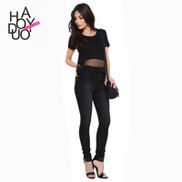 casual women t-shirt grenadine patchwork perspective t-shirt black loose t-shirt for wholesale and free shipping haoduoyi