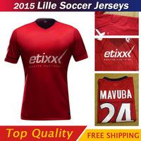 2015 Lille Soccer jersey  14 15 red Lille jersey A + + + best quality Thailand Football Shirt custom ORIGI MAUBA DAVID BALMONT
