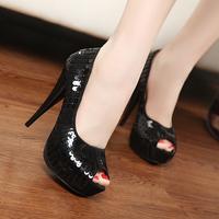 Fashion paillette sexy dress shoes ultra high heels pumps wedding shoes open toe single shoes 3668 - 5