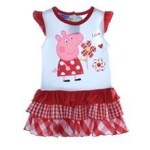 New peppa pig cotton tutu girl dress baby girls wear child summer clothing girl dress age