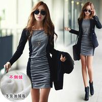 Women one-piece dress long-sleeve plus velvet thickening plus size slim medium-long hip basic shirt